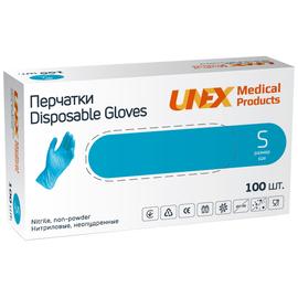 Перчатки нитриловые UNEX Medical, неопудренные, диагностические, синие, размер S, 100 шт. (50 пар)