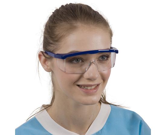 Dochem Защитные очки, пластиковые, регулируемые дужки, прозрачные линзы, синяя оправа