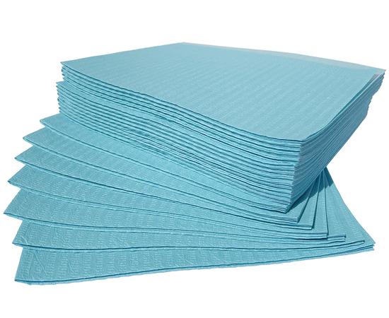 Dochem Нагрудники медицинские, 2 слоя бумаги + 1 слой полиэтилена, 33 х 45.5 см, синие, 500 шт., изображение 2