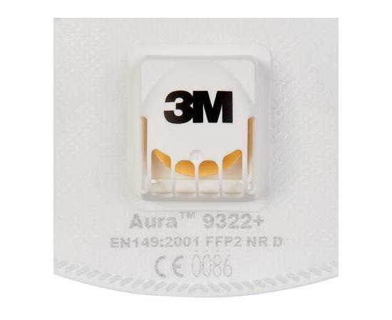 3M Aura 9322+ Респиратор, защита уровня FFP2, с клапаном, 1 шт., изображение 3