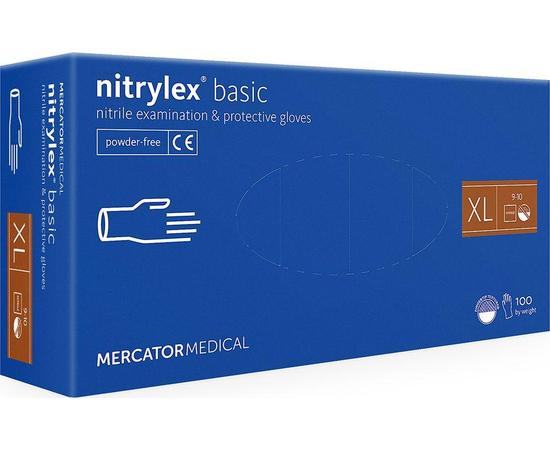Перчатки нитриловые NITRYLEX Basic, неопудренные, диагностические, синие, размер XL, 100 шт. (50 пар)