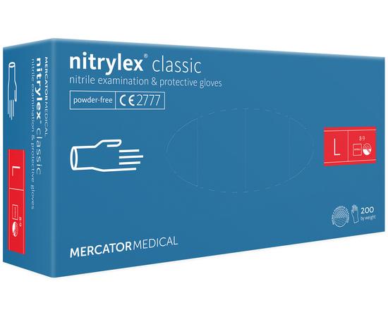 Перчатки нитриловые NITRYLEX Classic, неопудренные, диагностические, синие, размер L, 200 шт. (100 пар)