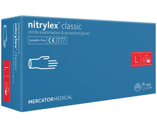 Перчатки нитриловые NITRYLEX Classic, неопудренные, диагностические, синие, размер L, 100 шт. (50 пар)