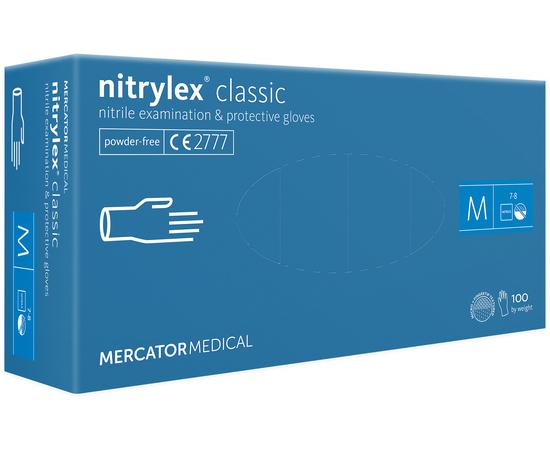Перчатки нитриловые NITRYLEX Classic, неопудренные, диагностические, синие, размер M, 100 шт. (50 пар)