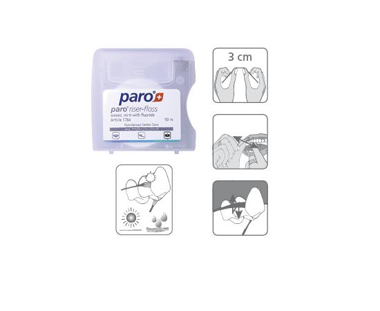 paro® RISER-FLOSS Зубная нить, вощенная, с мятой и фтором, 50 м